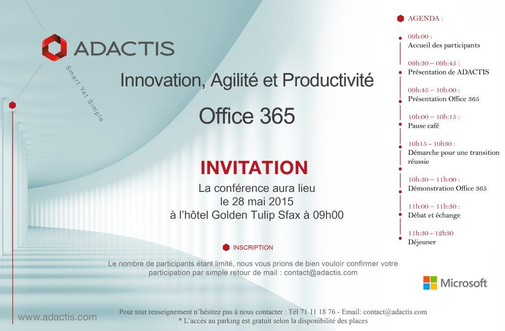 invitation Office 365 Sfax VF